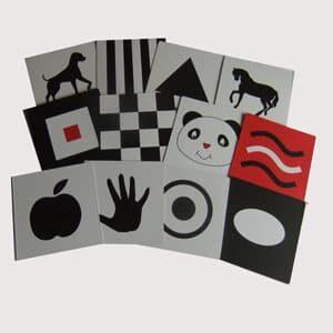 tarjetas de estimulacion visual para bebes en blanco negro y rojo